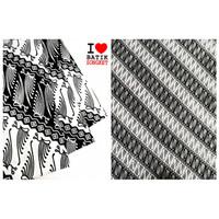 KATUN HITAM PUTIH KLASIK ANTIK bahan kain batik baju dress