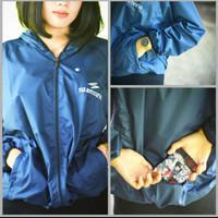 Jaket lari / Jogging / sepeda / Shauna parasut Shimano WaterProof Navy - M
