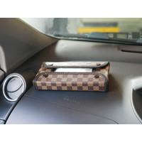TECHNOZIO Tempat tisu mobil Coklat Skak / Kotak tisu mobil