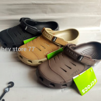 Sandal Crocs Yukon Leather pria/sandal Crocs Yukon Leather / Yukon - Hitam, M7