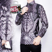 Kemeja Batik Pria Size M L XL XXL Lengan Panjang Katun Abu Haikal