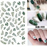 Sticker kuku daun leaves nail art stickers