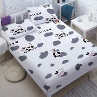 Bedcover Set Katun Motif Big Cow Kulit Sapi, 160x200, Bed Cover Sprei