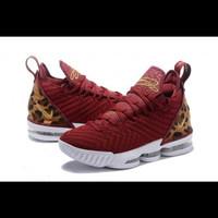 Sale Promo Sepatu Basket Nike Lebron 16 Leopard Red White