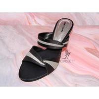 High Heels Morissett (MH71) Sandal Hak Lancip Wanita Hitam (7 Cm)
