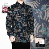 Kemeja Batik Pria Size M L XL XXL Lengan Panjang Katun Navy Amirul