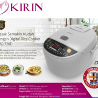 Kirin Rice Cooker Digital 2 Ltr KRC-720D KRC 720D Stainless White