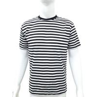 Kaos Pria Motif Garis-garis Warna Hitam Dan Putih