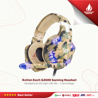 Kotion Each G2600 Gaming Headset Headphone LED Light with Mic - Camo
