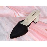 High Heels Morissett (MH77) Sandal HaK Tahu Wanita Hitam Putih (7 Cm)