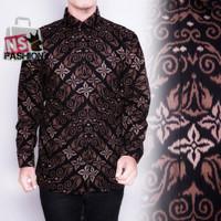 Kemeja Batik Pria Size M L XL XXL Lengan Panjang Katun Hitam Sayyid