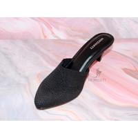High Heels Morissett (MH74) Sandal Hak Lancip Wanita Pump Hitam (7 Cm)