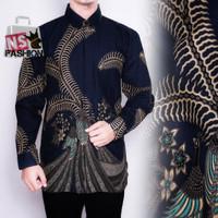 Kemeja Batik Pria Size M L XL XXL Lengan Panjang Katun Navy Wahyudi