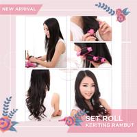 Set Roll Keriting Rambut Magic Rubber Foam Hair Curler Curly 6 Pcs