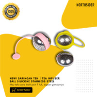 SARINGAN TEH | TEA INFUSER BALL SILICONE STAINLESS STEEL