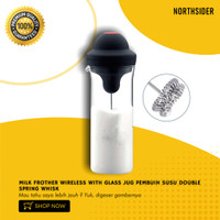 MILK FROTHER WIRELESS WITH GLASS JUG PEMBUIH SUSU DOUBLE SPRING WHISK