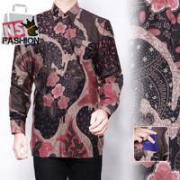 Kemeja Batik Pria Size M L XL XXL Lengan Panjang Katun Hitam Bahran