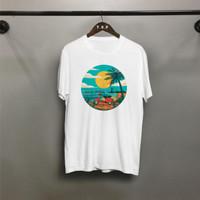 TP Kaos distro pria Vespa Sunset T-shirt pria Baju pria Atasan pria