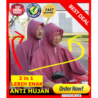 JAS HUJAN PONCHO PVC DOUBLE / 2 KEPALA / 2IN1 UNISEX One Size Fits All