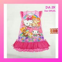 Dress anak perempuan kitty kaos baju tidur rok daster baby dolls DA2K - 6-7 tahun