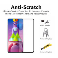 SAMSUNG M51 TEMPERED GLASS FULL COVER FULL SCREEN ANTI GORES KACA