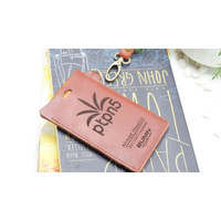 ID CARD HOLDER KULIT 2 SLOT /NAME TAG TALI KULIT/CUSTOM GRAFIR LASER