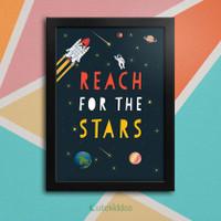 Poster Quotes Motif Space Ruang Angkasa Hiasan Dinding Kamar Anak - Bingkai Hitam