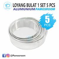 Pamosroom Loyang Kue Bolu Bulat 1 Set Isi 5 Tinggi 7cm Bahan Aluminium