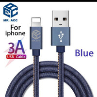 Kabel Data Denim Iphone Lightning Fast Charging 3A Mr.Acc MA-L11