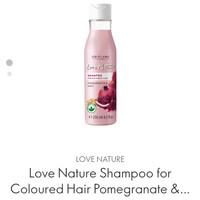 love nature shampoo for coloured hair pomegrante & oats