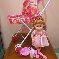 Mainan Kereta Stroller Boneka Bayi Bisa Bicara Menangis