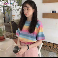 Tshirt Fukuyo Semi Cropped Rainbow Bahan babyterry fit to L