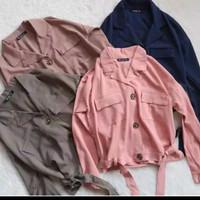 kemeja blouse Velda Crop Top Bahan twiscone fit to L