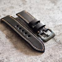 strap kulit tali jam tangan hitam black leather 20mm 22mm 24mm - 22mm