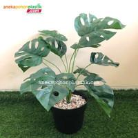 Pohon Daun Monstera X12 Semi Latex Artificial Pot Dasar Plastik Hiasan