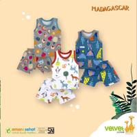 Baju anak bayi setelan kaos kutung celana pendek Velvet Junior M isi 3