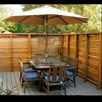 Meja kursi payung meja taman 6 kursi dudukan busa material kayu jati