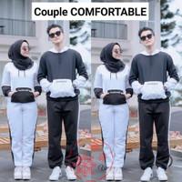 Cp Comfortable Putih HP Baju setelan Couple olahraga