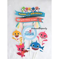 Cake Topper Baby Shark/Hiasan kue Baby Shark/Cake Topper Custom