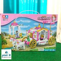 Mainan edukatif brick block princess kereta kuda 356 pcs 2 princess