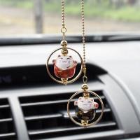 Car Pendant Maneki 2in1   Gantungan Pajangan Kucing Spion Tengah Mobil - Merah Hitam