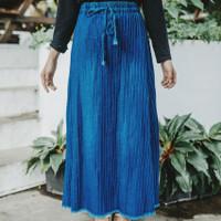 Bawahan wanita rok plisket jeans/rok plisket modis muslim