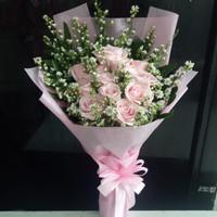 Buket bunga mawar pink asli kado ulang tahun