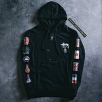 hoodie stussy original world tour flags black