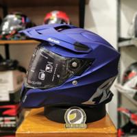 Helm Adventure Airoh Commander Matt Blue Double Visor SNI ECE