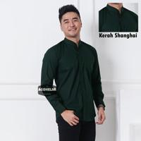 Kemeja Pria Lengan Panjang Hijau Tua Dark Green Kerah Shanghai Slimfit