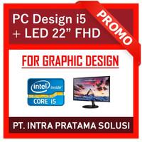"PC Rakitan i5 Lengkap + Monitor 22"" (For Office and Design Needs)"