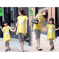 [Cp mk Swan FT]Couple dress ibu dan anak spandek kuning