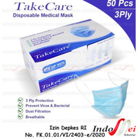 isi 50pc - Masker Medis Disposable Earloop 3ply TAKE CARE