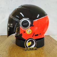 Helm Modern Retro Klasik Airoh Helios Fluo Orange Double Visor SNI ECE